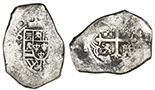 Mexico City, Mexico, cob 8 reales, (17)30R. S-M24; KM-47a; CT-755. 26.07 grams. Most of shield and cross (choice details), clear oMR and 30 of date, peripherally flat but no corrosion, toned in crevices. With generic certificate from the salvagers.