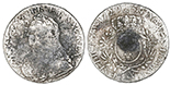 France (Aix mint), ecu, Louis XV, 1729, mintmark ampersand, ex-Auguste Shipwreck Research Collection. KM-486.27. 26.96 grams. VF/XF with light (surfaces) to moderate (rims) corrosion, uneven toning, dark patch in center of reverse, scarce mint. With original (generic) certificate from the salvagers.