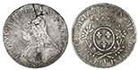 France (Dijon mint), ecu, Louis XV, 1736-P, ex-Auguste Shipwreck Research Collection. KM-486.16. 27.45 grams. Low-contrast XF+ with light surface corrosion on obverse only, also odd cracking above head, light toning, rare date for the mint. With original (generic) certificate from the salvagers.