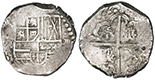 Potosi, Bolivia, cob 8 reales, Philip IV, assayer not visible (1640s), debased and underweight.