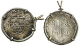 Seville, Spain, cob 8 reales, Philip II, assayer Gothic D at 4 o'clock outside tressure around cross, mounted in silver bezel with 14k gold accents and bail. Broad-flan specimen with choice full cross and shield but flat peripheries, minimal corrosion, impressive mounting (cross side out).
