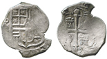 Mexico City, Mexico, cob 4 reales, Philip IV, assayer not visible (D). Thick, solid, uncorroded flan of an interesting shape, lustrous and high-grade surfaces, nearly full shield and cross, lightly toned.