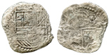 Potosi, Bolivia, cob 8 reales, Philip III, assayer T, Grade 3. Thin and worn from corrosion but with clear full shield, almost full but weaker cross, toned around details, with original Fisher photo-certificate #399.
