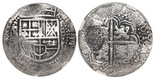 Potosi, Bolivia, cob 8 reales, (1649O), with crown-alone (rare) countermark on cross, encapsulated NGC Genuine / Capitana Shipwreck.