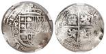 Potosi, Bolivia, cob 8 reales, 16(49)O, date at 7 o'clock, with crowned-L countermark on cross, encapsulated NGC Genuine / Capitana Shipwreck.