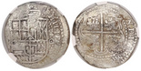 Potosi, Bolivia, cob 8 reales, (1650-1)O, with crowned-L countermark on cross, encapsulated NGC Genuine / Capitana Shipwreck.