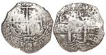Potosi, Bolivia, cob 8 reales, 1654E, •PH• at top.