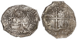Potosi, Bolivia, cob 8 reales, (1651-2)E, with crowned-•F• countermark (four dots) on shield.