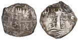 Potosi, Bolivia, cob 4 reales, 1653E, PH at top.