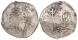 Potosi, Bolivia, cob 8 reales, 1657E, PH at top.