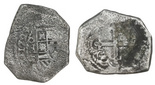 Mexico City, Mexico, cob 8 reales, 1729R. Full date and oMR, most of shield and cross despite surface corrosion, toned all over.
