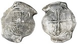 """Mexico City, Mexico, cob 8 reales, Philip IV, assayer P, with """"Silver Bank Treasures"""" tag. S-M19; KM-45. Approx. 25 grams. Good cross and shield, nice toning all over."""