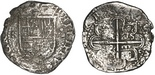 Seville, Spain, cob 8 reales, Philip II, assayer Gothic D with open right side at 4 o'clock outside tressure on reverse.