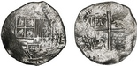 Potosi, Bolivia, cob 8 reales, Philip II or III, assayer not visible, Grade 2, with original Fisher tag and certificate.