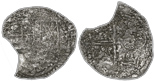 Potosi, Bolivia, cob 4 reales, Philip III, assayer not visible, Grade 3. Arc-shaped segment missing and some surface loss from corrosion but with full shield and cross, lightly toned all over.
