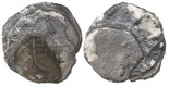 Clump of 3 silver cobs, partially encrusted. Dark and tight stack of corroded coins (mints uncertain), two 8R and one 4R or 2R, one outer coin with oMD visible, lots of dark encrustation.