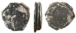 Clump of 3 silver cobs, partially encrusted. Three corroded-thin coins (one 8R and two 4R, mints uncertain) with much separation between them, heavy encrustation at one end that contains lots of curvy remains of some kind of tubeworm.