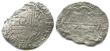 Potosi, Bolivia, cob 8 reales, Philip III, assayer not visible (assayer A or B), Grade-3 quality.