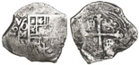 Mexico, cob 4 reales, Philip IV, assayer not visible, encapsulated NGC shipwreck effect.