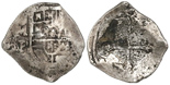 Mexico City, Mexico, cob 4 reales, Philip IV, assayer P. S-M19; KM-38. 12.18 grams. Full but lightly corroded cross with patch of encrustation, nearly full shield and oMP, lightly toned.
