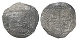 Mexico City, Mexico, cob 8 reales, Philip II, assayer (F)-oD, rare. S-M14; KM-43; CT-155. 19.18 grams. Dark and thin from moderate to heavy corrosion but with clear 8-oD to right of full and well-detailed shield.