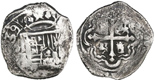 Mexico City, Mexico, cob 2 reales, 1639/7(P), very rare. KM-unl; 6.17 grams. Bold full 39/7 date, unusually 100%-full crown, nearly full cross, most of shield, toned Fine+ with flatness.