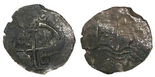 Potosi, Bolivia, cob 4 reales, 1666E. S-P37a; KM-18; CT-758. 10.22 grams. Full but off-center cross and pillars-and-waves, very dark all over and with light corrosion. Pedigreed to the Mark Bir collection
