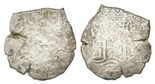 Potosi, Bolivia, cob 8 reales, 1669E. S-P37b; KM-26; CT-344. 21.93 grams. Clear date above waves on moderately corroded pillars side, the cross side almost all gone (heavy corrosion). Recovered from: Consolacion, sunk in 1681 off Santa Clara Island, Ecuador