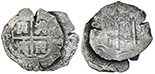 Clump of two Potosi, Bolivia, cob 8 reales, one 1679C and the other with date and assayer not visible, ex-Spink.
