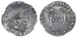 """Mexico City, Mexico, 4 reales, Charles-Joanna, """"Early Series,"""" assayer P to left, mintmark M to right (oPo-oMo), right-leaning panel, HISPANIARVM, very rare, NGC XF 40. Nesmith-21; CT-76 type; S-M4. Richly toned and nearly perfect strike with 100% full details, slight central weakness caused by concave strike that NGC appears to have mistaken for wear, rarest variety of assayer P 4 reales (oPo-oMo and right-leaning panel) with fewer than a dozen examples recorded. NGC #3075389-019."""