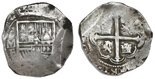 Mexico City, Mexico, cob 8 reales, 1612F. S-M17; KM-44.3; CT-105. 27.29 grams. Clear 12 of date, full cross, nearly full shield, full oMF, AVF with light toning in crevices.