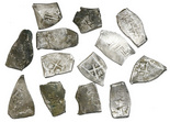 Mexico City, Mexico, cob 2 reales, Charles II, assayers not visible, ex-Pasay hoard (Philippines) KM-34. Sharply cut flans (several somewhat pointy), technically high grade (AVF) but with lots of weak strike and flatness, some with light encrustation. 13 available.