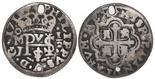 Mexico City, Mexico, cob 1/2 real Royal, 1716J.