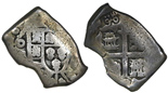 Mexico City, Mexico, cob 4 reales, (173)0, assayer not visible, with Madura Island (Sumenep, Indonesia) countermark of 1814 (1/2 real batu) on cross side. Odd-shaped flan with clear 0 of date, most of shield and cross, deeply toned Fine, but most important feature is full countermark on reverse.