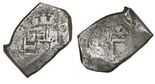 Mexico City, Mexico, cob 8 reales, (170)4L, rare. S-M21a; KM-47; CT-734. 26.26 grams. Full assayer L and 4 of date, the shield and crown and cross nearly full but with old scratches, About Fine overall. Pedigreed to the Ponterio auction of September 2003, with original lot-tag #467 (tag trimmed).
