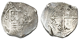 Mexico City, Mexico, cob 8 reales, 1640P, with chopmarks and test cuts as from circulation in Asia.