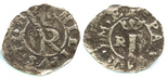 Lima, Peru, cob 1/4 real, Philip II, assayer R (Rincon) to left of crowned I, legend starting on other side, very rare.