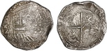 Potosi, Bolivia, cob 8 reales, Philip II, assyer B (4th period).