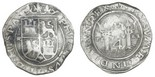 Lima, Peru, 4 reales, Philip II, assayer R (Rincon) to left in small punch, motto PL-VSV-LT, legends HISP / NIARVM. Round compact shape (as made) , with bold interior details and most legend (including bold king's ordinal II), some small spots, XF, rare first coinage of South America.