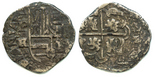 Potosi, Bolivia, cob 2 reales, Philip IV, assayer TR (ca. 1640), upper half of shield transposed (rare).