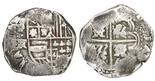 Potosi, Bolivia, cob 8 reales, Philip IV, assayer FR (ca. 1640), rare. 26.33 grams. Bold full assayer (rare thus) outside of full (off-center shield), good full cross, toned Fine. g031903131003