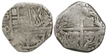 Potosi, Bolivia, cob 2 reales, Philip IV, assayer P (1620s).