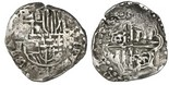 Potosi, Bolivia, cob 2 reales, Philip IV, assayer T (1640s), quadrants of cross transposed.