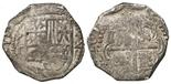 Potosi, Bolivia, cob 2 reales, Philip IV, assayer T (ca. 1630).