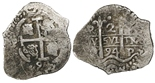 Potosi, Bolivia, cob 2 reales, 1694VR.