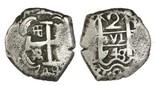 Potosi, Bolivia, cob 2 reales, 1748/7q, rare.