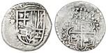 Potosi, Bolivia, cob 2 reales, (161)8T, large 8 in date, no eagles in Sicily, no T in ET, rare.