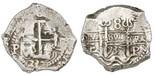 Potosi, Bolivia, cob 8 reales, 1737E, NGC AU 55.