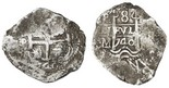 Potosi, Bolivia, cob 8 reales, 1740M. S-P47; KM-31a; CT-901. 27.28 grams. VF with dark brown toning and encrustation, bold date above full waves, second date below nearly full cross, three assayers, Fine.