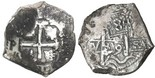 Potosi, Bolivia, cob 8 reales, 1739M. Chunky AVF with two dates visible, doubled pillars yet clear date and assayer, darkly toned full cross.